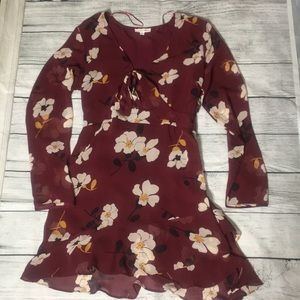 Stunning wine red floral print dress